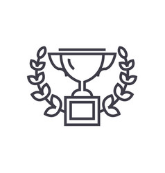 trophy with wreath line icon sign vector image vector image