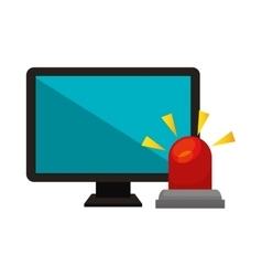 Computer with alarm siren isolated icon vector