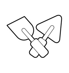 cross spatulas of construction icon vector image vector image