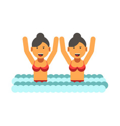 Female twins in swimsuits with raised hands in vector