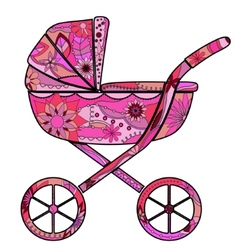 Girl baby carriage vector image