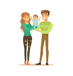 happy smiling man woman and small baby standing vector image vector image