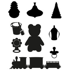 icon of toys and accessories black silhouette vector image vector image