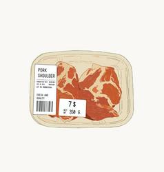 Raw pork shoulder in pack sketch vector