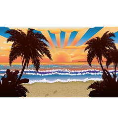 Sunset on beach with palms vector image vector image