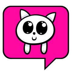 cartoon kitten chat icon vector image vector image