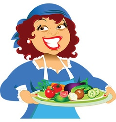 Cartoon woman with plate of food vector image