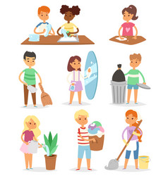 kids cleaning rooms and helping their mums vector image