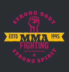 mma fighting logo emblem t-shirt design print vector image