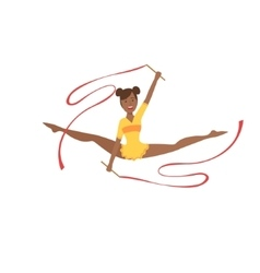 Black Professional Rhythmic Gymnastics Sportswoman vector image