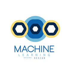 colored logo of machine learning in geometric vector image