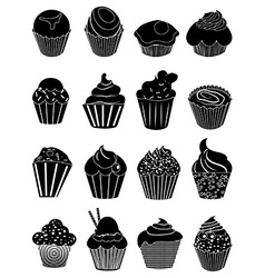 Cup cakes icons set vector image vector image