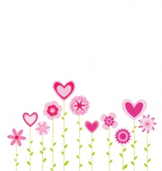 flowers and hearts vector image