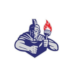 Greek Warrior Holding Flaming Torch Retro vector image vector image
