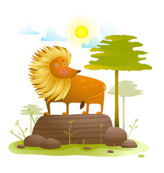 lion animal cartoon in wild nature with trees lawn vector image vector image