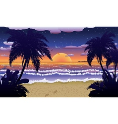 Sunset on beach with palms2 vector image vector image