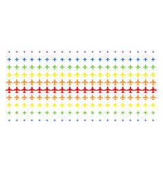 airplane shape halftone spectrum grid vector image