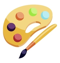 Art palette and brush icon cartoon style vector