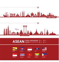 Asean travel destination vector