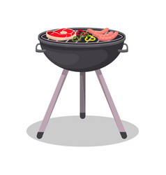 Barbecue grill with grilled meat steak icon vector