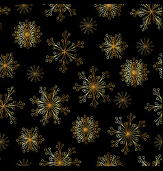 beautiful seamless pattern with gold snowflakes vector image