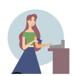 beautiful woman holding a credit card in her hand vector image