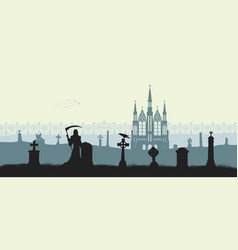 Black silhouette of gothic cemetery vector
