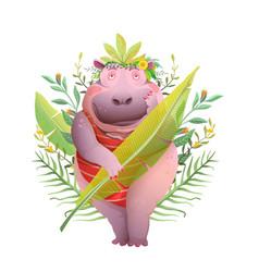 Body positive hippopotamus lady in jungle smiling vector
