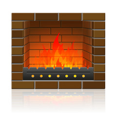 burning fire in the fireplace vector image