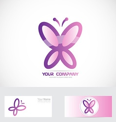 Butterfly logo pink vector