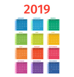 calendar 2019 week starts on sunday vector image