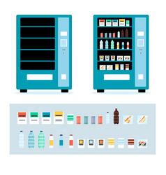 cartoon full and empty vending machine set vector image