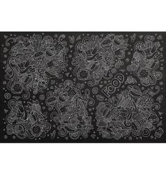 Chalkboard hand drawn doodles cartoon set vector