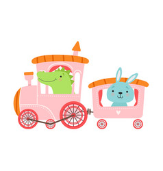 Cheerful red cheeked crocodile and hare driving vector