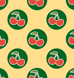 Cherry pattern Seamless texture with ripe red vector image