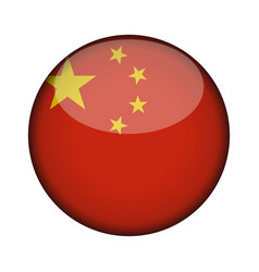 china flag in glossy round button of icon china vector image