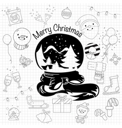christmas decorative elements for holidays in draw vector image
