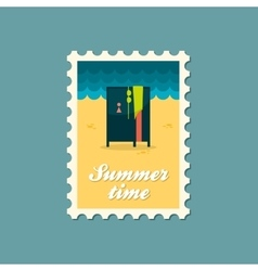Cloakroom on the beach flat stamp vector