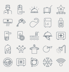 Collection of outline hotel icons vector