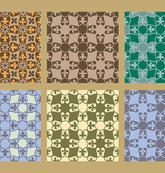 Colorful pastel set of seamless floral patterns vector