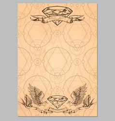 contour image diamonds ribbons wings and vector image