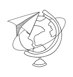 Contour with map of the world and plane of paper vector