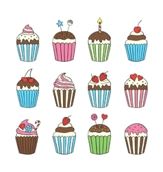 Cupcake set colorful isolated vector