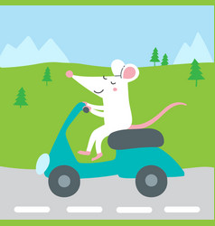 Cute rat riding scooter traveling vector