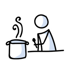 Cute stick figure cooking at home lineart icon vector