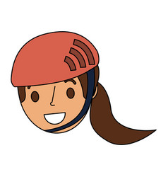 Cute young girl child with sport helmet vector