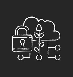 Data security in agriculture chalk white icon vector