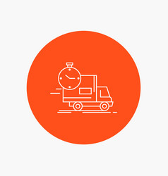 delivery time shipping transport truck white line vector image