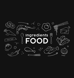 drawing food ingredients black and white vector image