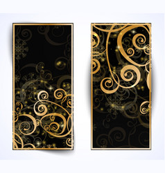 elegant christmas black and gold banner vector image